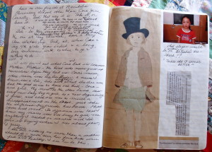 Photo of Eileen's writing journal with handwritten drafts and sayings and pictures cut from magazines