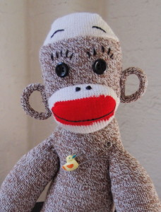 Throckmorton S. Monkey portrait pose with ducky diaper pin