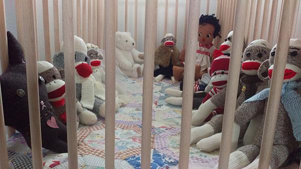 Baby crib in Eileen Beha's writing studio