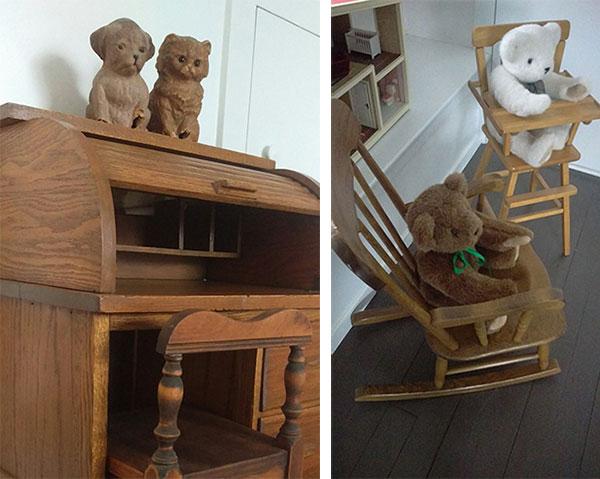 Eileen Beha rolltop desk and teddy bears