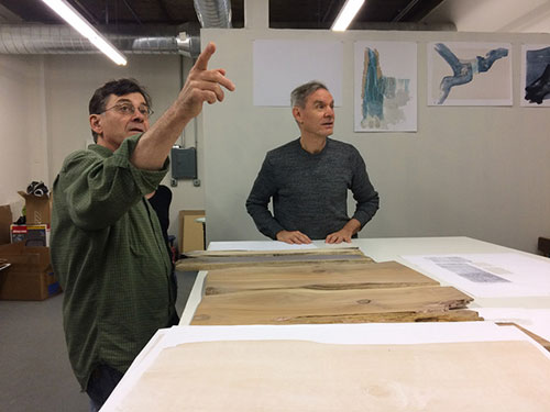 Gordon Shanilec and John Coy at Shanilec's studio, working on My Mighty Journey: A Waterfall's Story
