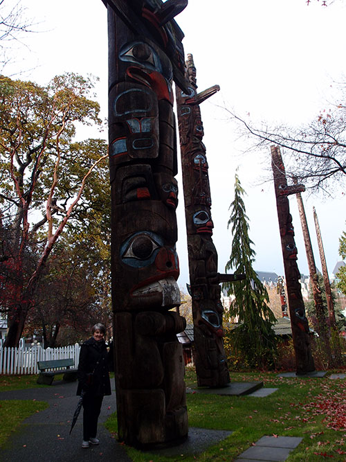 Eileen viewing totem poles, Thunderbird Park, Victoria, BC
