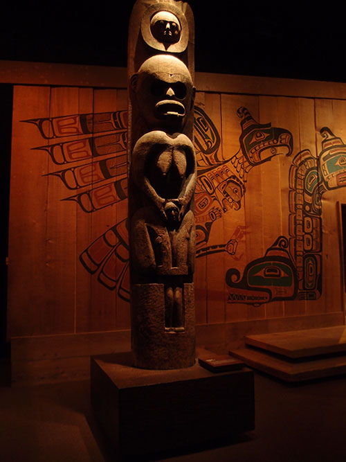 Totem pole, First Nations gallery, RBCM, Victoria