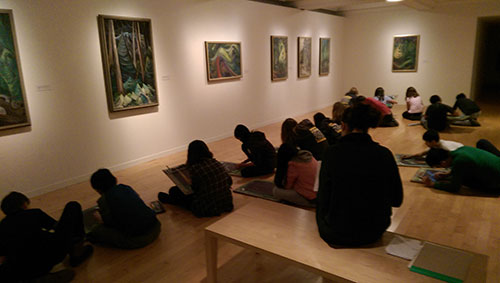 Middle school students at Vancouver Art Gallery