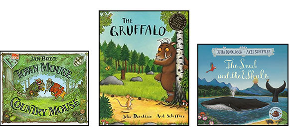 Town Mouse Country Mouse, The Gruffalo, The Snail and the Whale