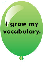 green balloon I grow my vocabulary